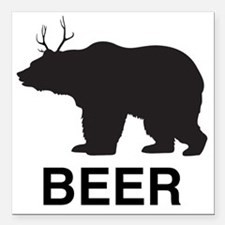 "Beer. Bear with Deer Ant Square Car Magnet 3"" x 3"""