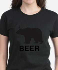 Beer. Bear with Deer Antlers Tee