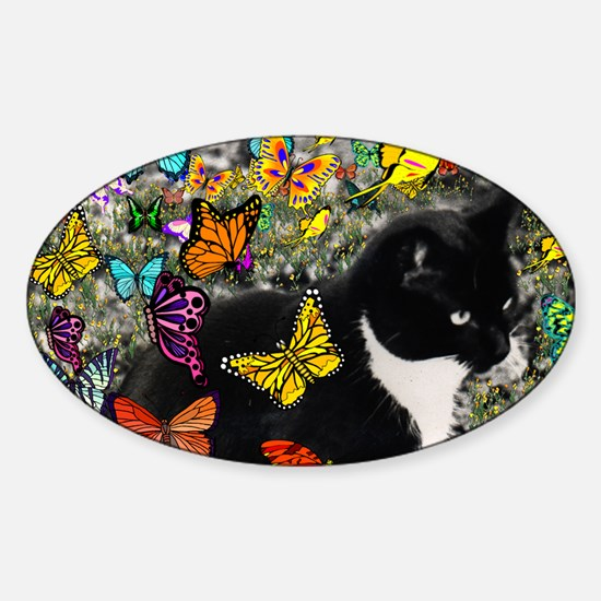Freckles the Tuxedo Kitty in Butter Sticker (Oval)