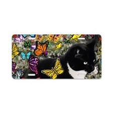 Freckles the Tuxedo Kitty i Aluminum License Plate