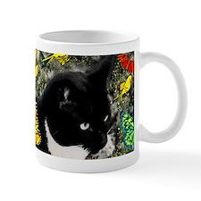 Freckles the Tuxedo Kitty in Butterflie Mug