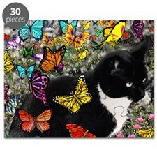 Freckles the Tuxedo Kitty in Butterflies I Puzzle