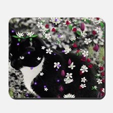 Freckles the Tux Kitty in Flowers I Mousepad