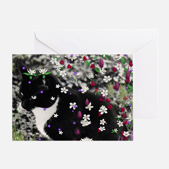 Freckles the Tux Kitty in Flowers I Greeting Card