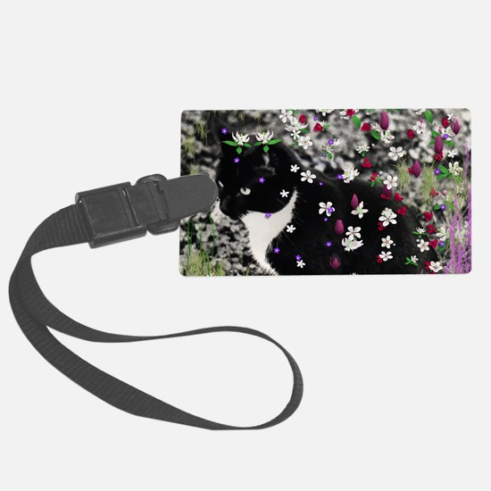 Freckles the Tux Kitty in Flower Luggage Tag