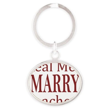 Real Men Marry Teachers Red Oval Keychain