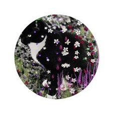 """Freckles the Tux Kitten in Flowers I 3.5"""" Button"""