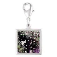 Freckles the Tux Kitty in Flo Silver Square Charm