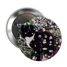 """Freckles the Tux Kitty in Flowers I 2.25"""" Button"""
