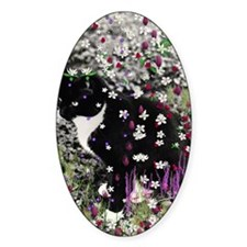 Freckles the Tux Kitty in Flowers I Decal
