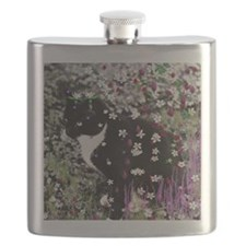 Freckles the Tux Kitty in Flowers I Flask