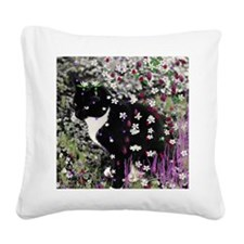Freckles the Tux Kitty in Flo Square Canvas Pillow