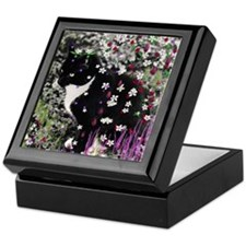 Freckles the Tux Kitty in Flowers I Keepsake Box