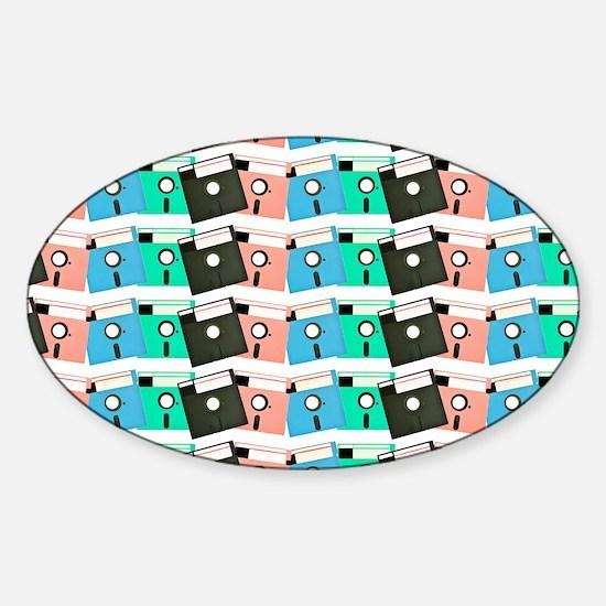 Vintage Floppy Discs Sticker (Oval)