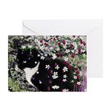 Freckles the Tux Kitten in Flowers I Greeting Card