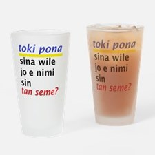 Toki Pona revised slogan 1 Drinking Glass
