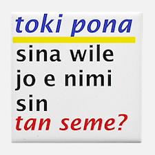 Toki Pona revised slogan 1 Tile Coaster