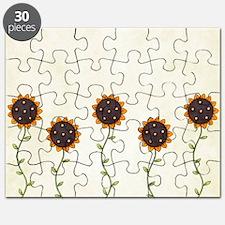 Primitive Sunflowers Shower Curtain Puzzle