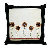 Watercolor sunflower shower curtains Throw Pillows