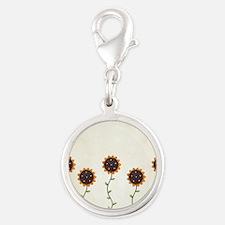 Primitive Sunflowers Shower Cu Silver Round Charm