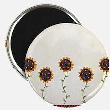 Primitive Sunflowers Shower Curtain Magnet
