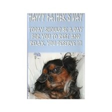 Happy Fathers Day Lazy Dog In Bed Rectangle Magnet