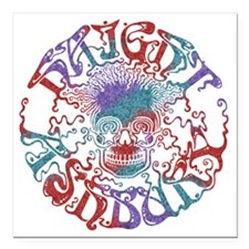 "haight-skull-DKT Square Car Magnet 3"" x 3"""