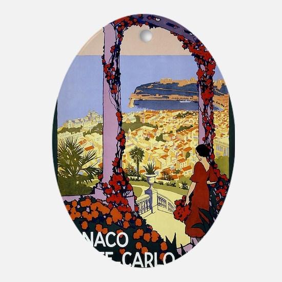 Antique Monaco Land of Sun Travel Po Oval Ornament