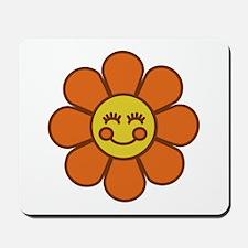 Smiley Orange Flower Mousepad