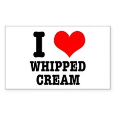 I Heart (Love) Whipped Cream Rectangle Decal