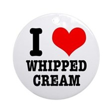 I Heart (Love) Whipped Cream Ornament (Round)