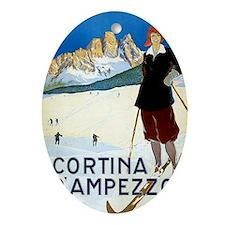 Antique Italian Cortina Skiing Trave Oval Ornament