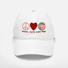 Peace Love and Pigs Baseball Baseball Cap