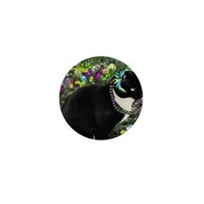 Freckles the Tux Cat in Easter Eggs Mini Button