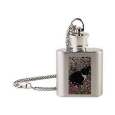 Freckles the Tux Cat in Flowers II Flask Necklace