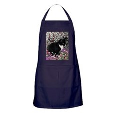 Freckles the Tux Cat in Flowers II Apron (dark)