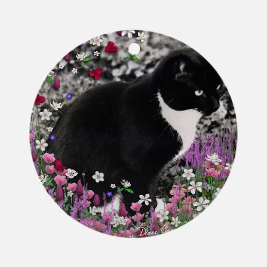 Freckles the Tux Cat in Flowers II Round Ornament