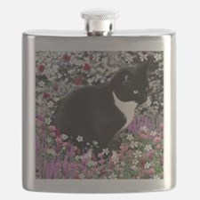 Freckles the Tux Cat in Flowers II Flask