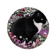 """Freckles the Tux Cat in Flowers II 3.5"""" Button"""