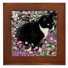 Freckles the Tux Cat in Flowers II Framed Tile