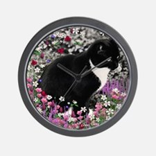 Freckles the Tux Cat in Flowers II Wall Clock