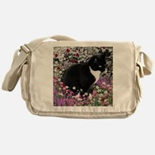 Freckles the Tux Cat in Flowers II Messenger Bag