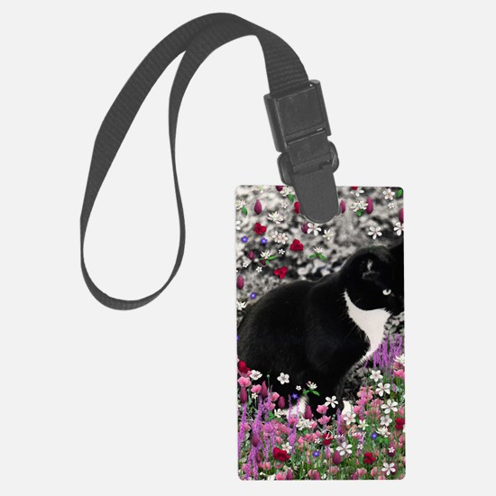 Freckles the Tux Cat in Flowers  Luggage Tag