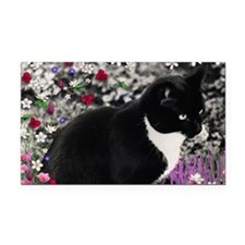Freckles the Tux Cat in Flowe Rectangle Car Magnet
