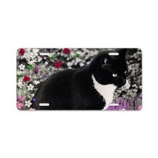 Freckles the Tux Cat in Flo Aluminum License Plate