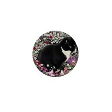 Freckles the Tux Cat in Flowers II Mini Button
