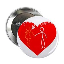 "Open Position Stick Figure With Heart 2.25"" Button"