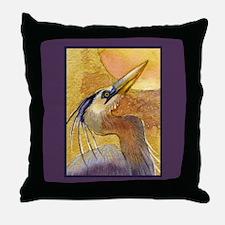 Gold Moon Heron Throw Pillow