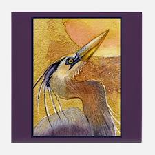 Gold Moon Heron Tile Coaster