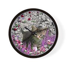 Emma Tabby Kitten in Flowers I Wall Clock
